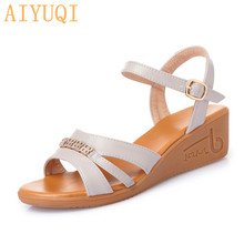 AIYUQI Sandals Women Wedge 2020 New Summer Large Size 41 42 43 Casual Women's Open-toe Mom Rome