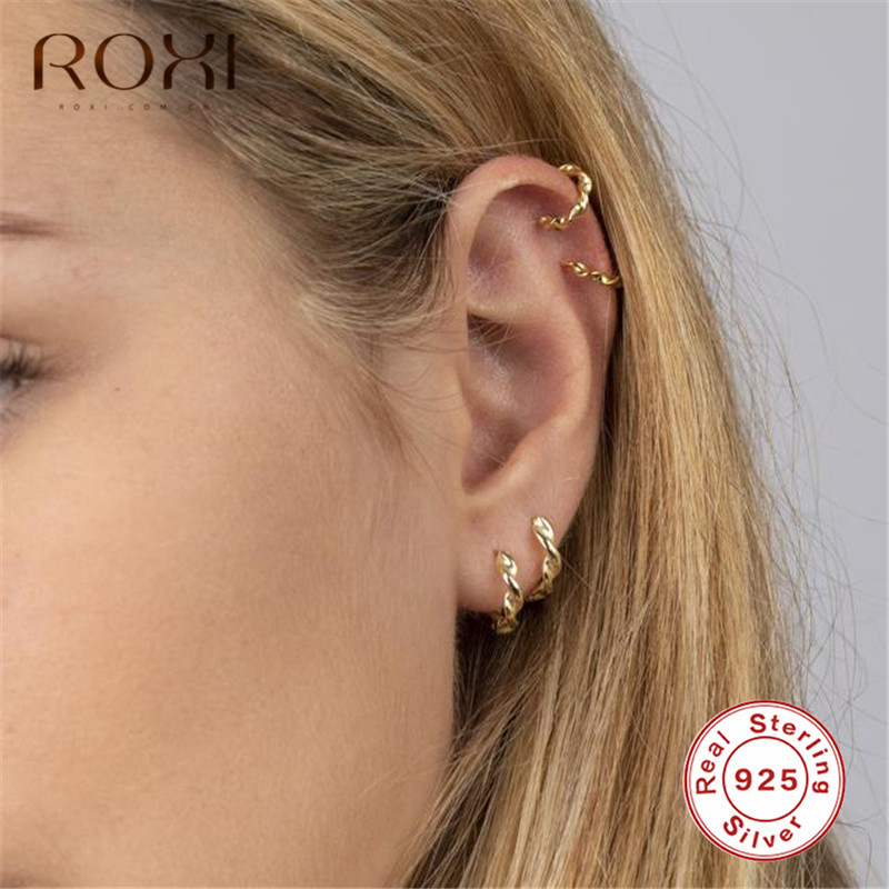 ROXI Minimalist 925 Sterling Silver Twisted Stud Earrings For Women Geometric Circle Hoops Small Earrings Helix Piercing Earings