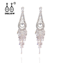 купить DREJEW Water Drop Long Tassel Gold Silver Statement Earrings 2019 Summer 925 Drop Earrings Sets for Women Wedding Jewelry HE1501 онлайн