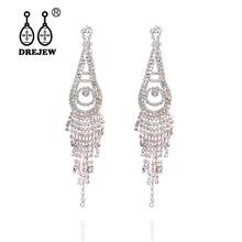 DREJEW Water Drop Long Tassel Gold Silver Statement Earrings 2019 Summer 925 Drop Earrings Sets for Women Wedding Jewelry HE1501 недорого