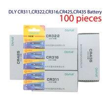 Batería eléctrica luminosa para pesca, accesorios de herramientas de pesca con Pin de litio, CR311, CR316, CR322, CR425, CR435, 100 unids/lote