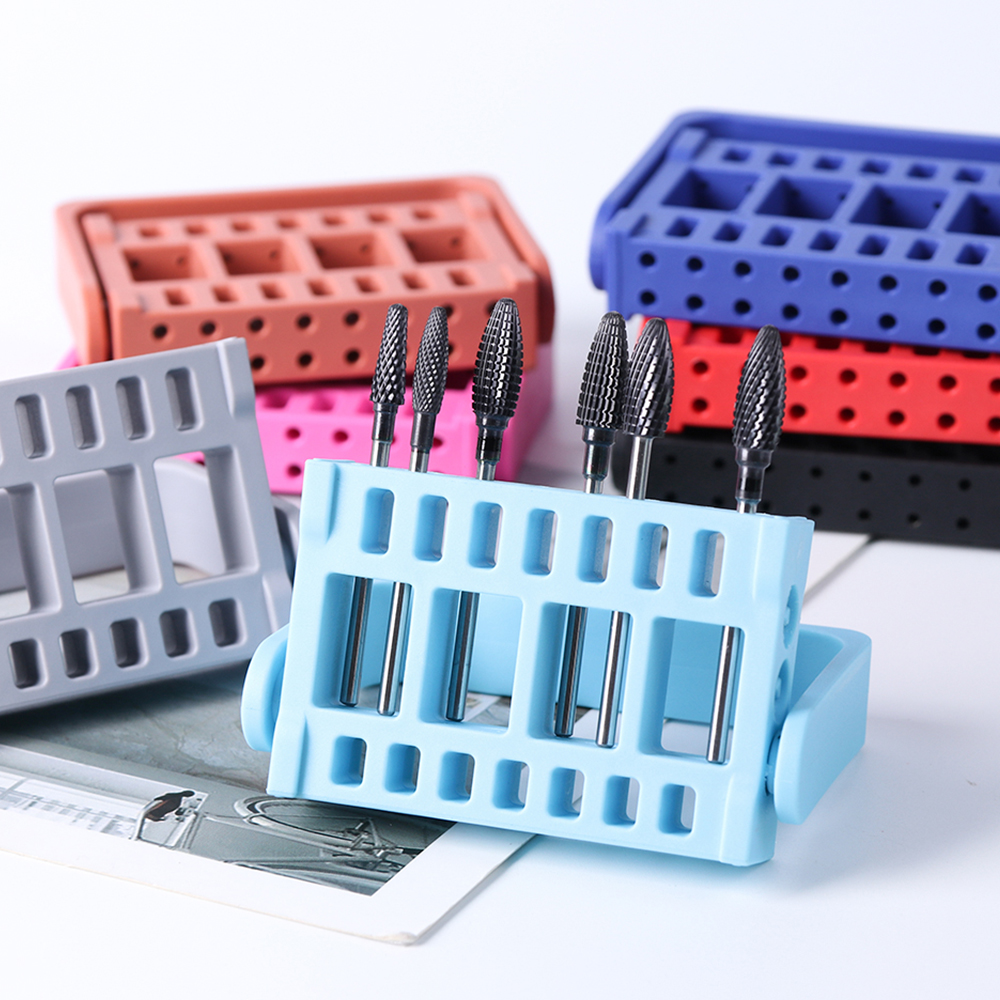 1pcs 16 Holes Nail Drill Bit Display Shelf Acrylic Adjustable Grinding Head Holder Storage Box Manicure Drill Accessory LA904