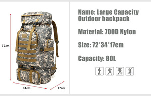Image 2 - 80L Waterproof Molle Camo Tactical Backpack Military Army Hiking Camping Backpack Travel Rucksack Outdoor Sports Climbing Bag