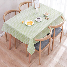 Waterproof Tablecloth Plastic Round Home-Decor Plaid-Pattern PVC 137--180cm Simple