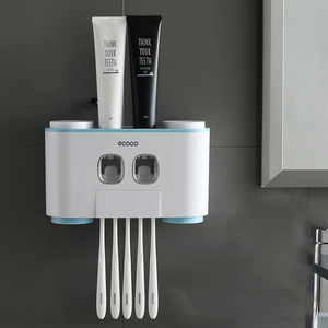 Wall-Mounted Toothbrush Holder with 2 Toothpaste Dispensers 4 Cups and 5 Toothbrush Slots Toiletries Bathroom Storage Rack