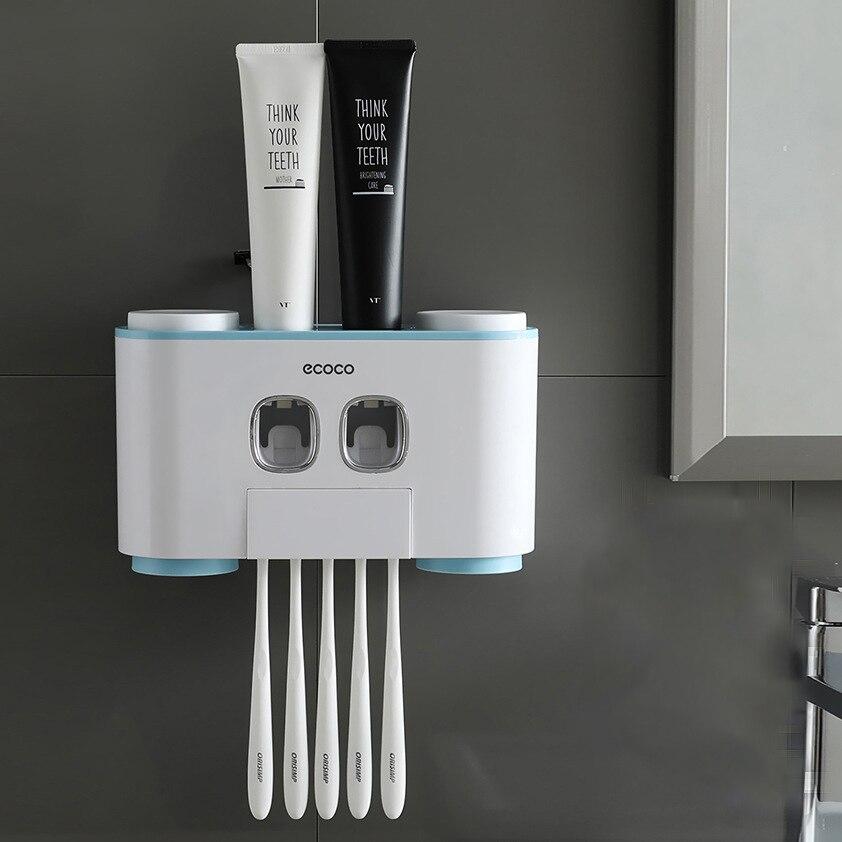 Wand-Montiert Zahnbürste Halter mit 2 Zahnpasta Spender 4 Tassen und 5 Zahnbürste Slots Pflege Bad Lagerung Rack