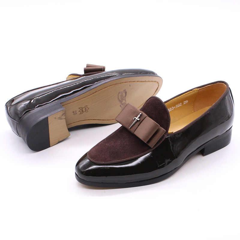 4-12 yıl çocuk elbise ayakkabı Patent deri süet çocuklar mokasen düz kayma parti siyah resmi ayakkabı ilköğretim okulu için erkek