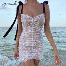 LZEQuella sexy strap sleeveless high waist mesh patchwork dress beach holiday sl