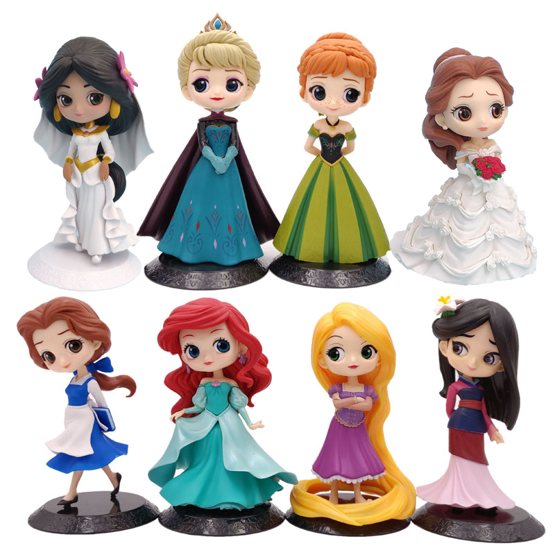 Disney Q Posket Fairy Princess Doll Frozen Elsa Anna Jasmine Ariel Belle Mulan Action Figure Toys Cake Decoration Christmas Gift