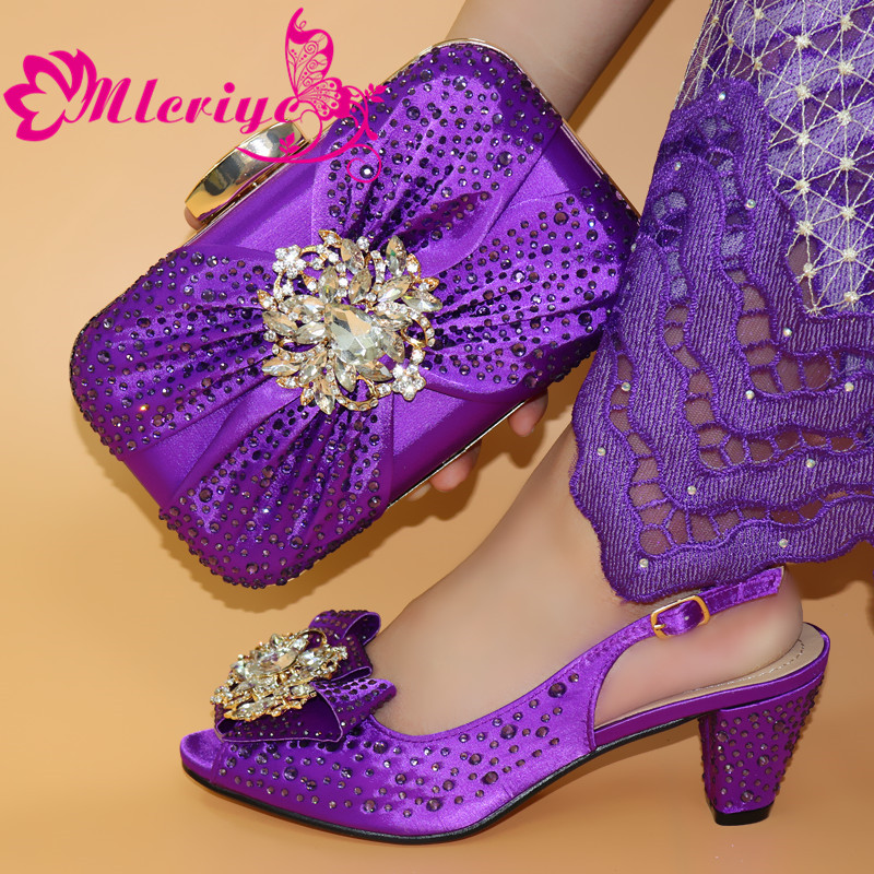 Women Shoes and Bags To Match Set Italy Nigerian Women Wedding Shoes and Bag Set Decorated with Rhinestone Italian Shoes Women