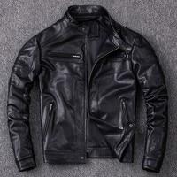 2020 New Winter Mens Jacket Fashion Solid Genuine Leather Biker Jacket Casual Long Sleeve Pocket Zipper Male Outerwear Plus Size