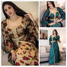 AB026 Embroidery Cotton Dress Abaya Woman Clothing European Muslim Robe Dubai Palace Vintage Blue Yellow With Flower Djellaba