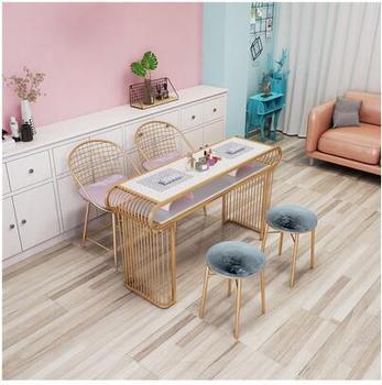 Nordic marmurowy stół do manicure i zestaw krzeseł połączenie pojedynczy podwójny stół do manicure prosty nowoczesny ze złota stół do manicure tanie i dobre opinie CN (pochodzenie) Salon mebli Stół paznokci Meble sklepowe