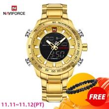 NAVIFORCE גברים שעון זהב שעון Mens דיגיטלי LED ספורט שעוני יד גברים של קוורץ תצוגה כפולה עמיד למים שעונים Relogio Masculino