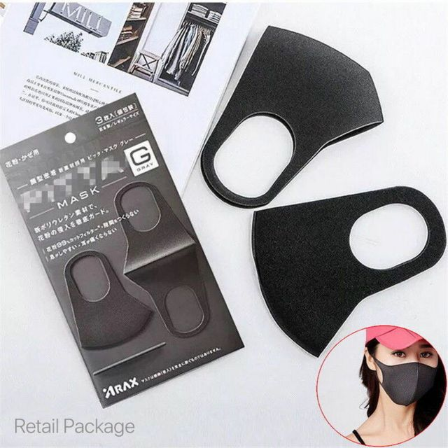 5Pcs Anti Dust Black Fashion Face Mouth Mask Filter Windproof Mouth-muffle Bacteria Proof Flu Face Masks Care Reusable Washable 5