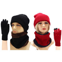 Мужская и женская зимняя шапка шарф перчатки Вязаная Шапка бини