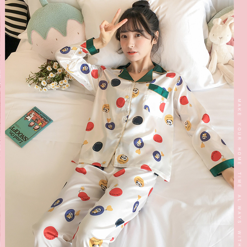 Spring And Autumn Pajamas Long-sleeve Suit Viscose Sexy Loose Korean-style Summer Thin Model Silk-Outer Wear Tracksuit
