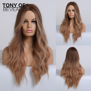 Image 4 - 흑인 여성을위한 긴 물결 모양의 다크 브라운 합성 가발 중간 부분 코스프레 자연 헤어 가발 내열성 섬유 거짓 머리카락