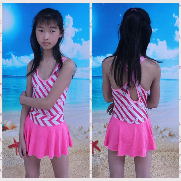 Children Siamese Swimsuit Belly Covering Young STUDENT'S Big Boy Students Swimwear Navy Stripes-Style Children