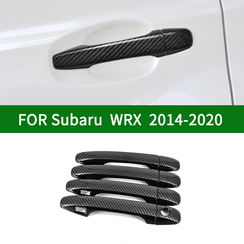 For Subaru WRX STI 2014 2020 Fourth generation Glossy Carbon fiber pattern  side Door Handle Covers Trims 2015 2016 2017 2018|Car Stickers| |  - title=