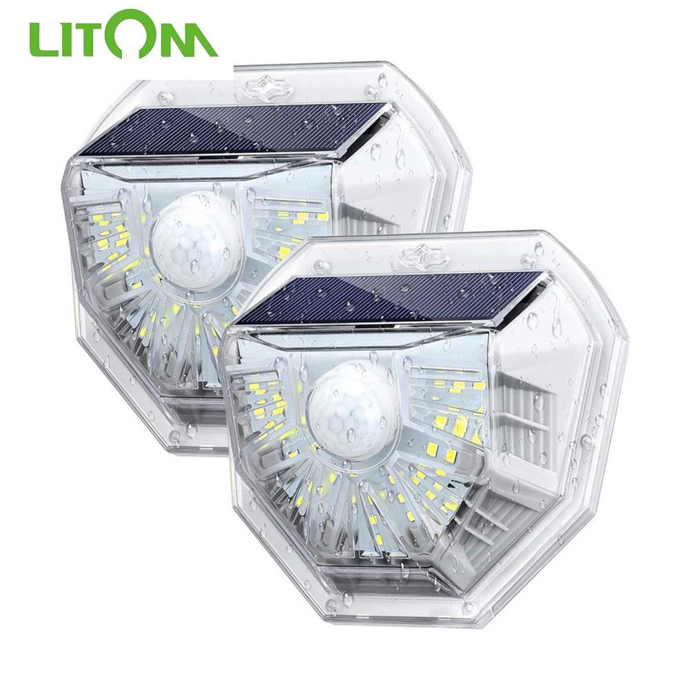 2 4 pces litom 40 diodo emissor de luz solar pir sensor de movimento lampada solar