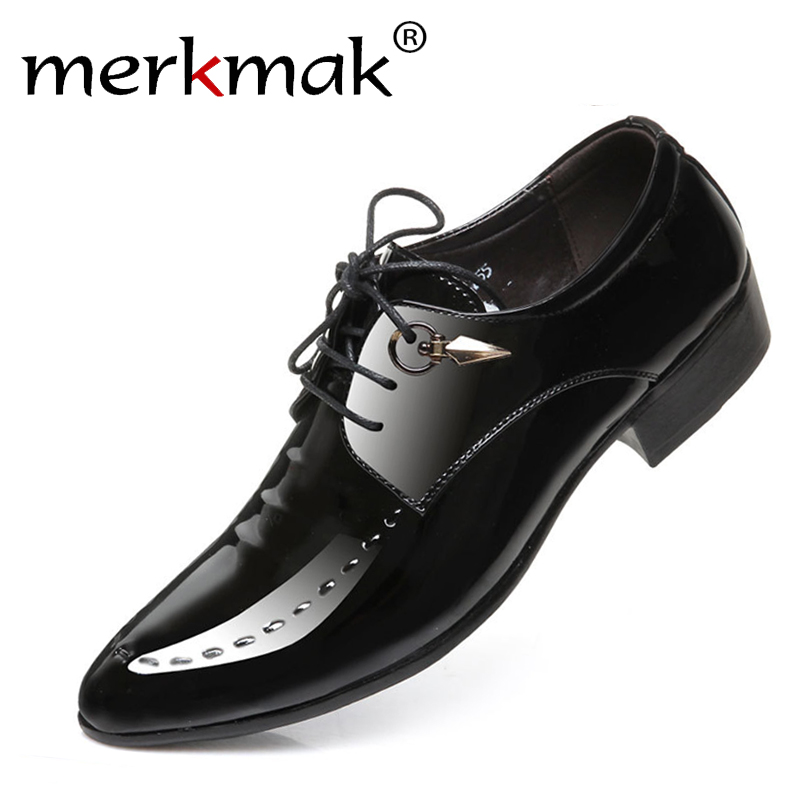 Merkmak New Fashion Italian Designer Formal Mens Dress Shoes Genuine Leather Black Luxury Wedding Shoes Men Flats Office Oxfords