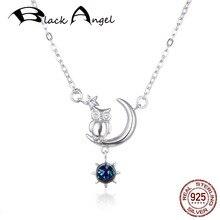 цена 100% 925 Sterling Silver Lucky CZ Owl in Moon With Glass Sun Pendant Necklaces Women Fine Jewelry Gift онлайн в 2017 году