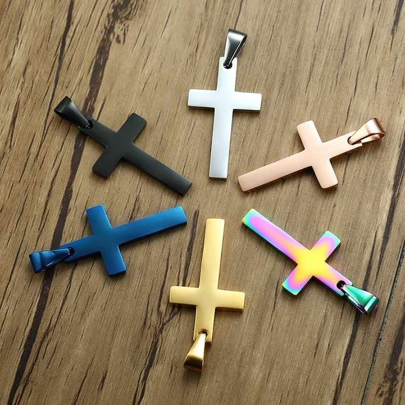 Męska ze stali nierdzewnej krzyż naszyjnik wisiorek w czarny srebrny Tone dla mężczyzn Boy mąż prezenty 24 cal