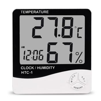 HTC-1 cyfrowy LCD kryty higrometr pokój termometr pulpit ścienny miernik temperatury i wilgotności z budzikiem tanie i dobre opinie VKTECH REGULATOR TEMPERATURY NONE CN (pochodzenie) LCD Digital Indoor Hygrometer Room Thermometer 50 ° C-69 ° C Bateria AAA