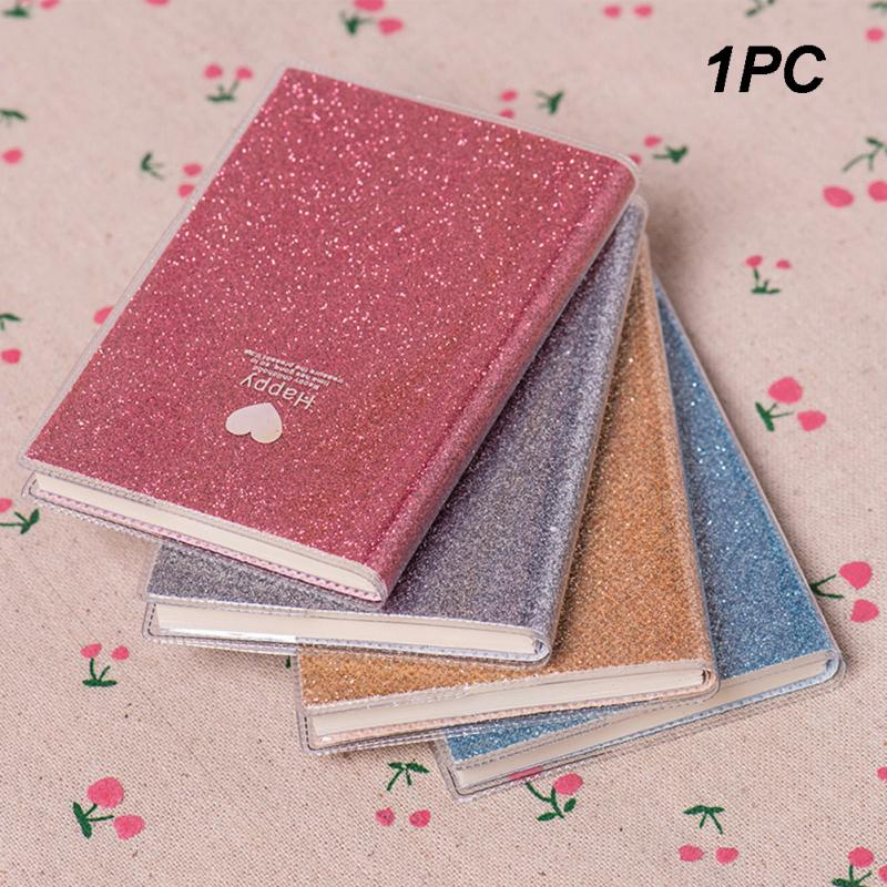 New Smooth Writing Love Heart Shining Notepad Diary Notebook Fashion Papery Gift School Student Office Supplies Planner Agenda