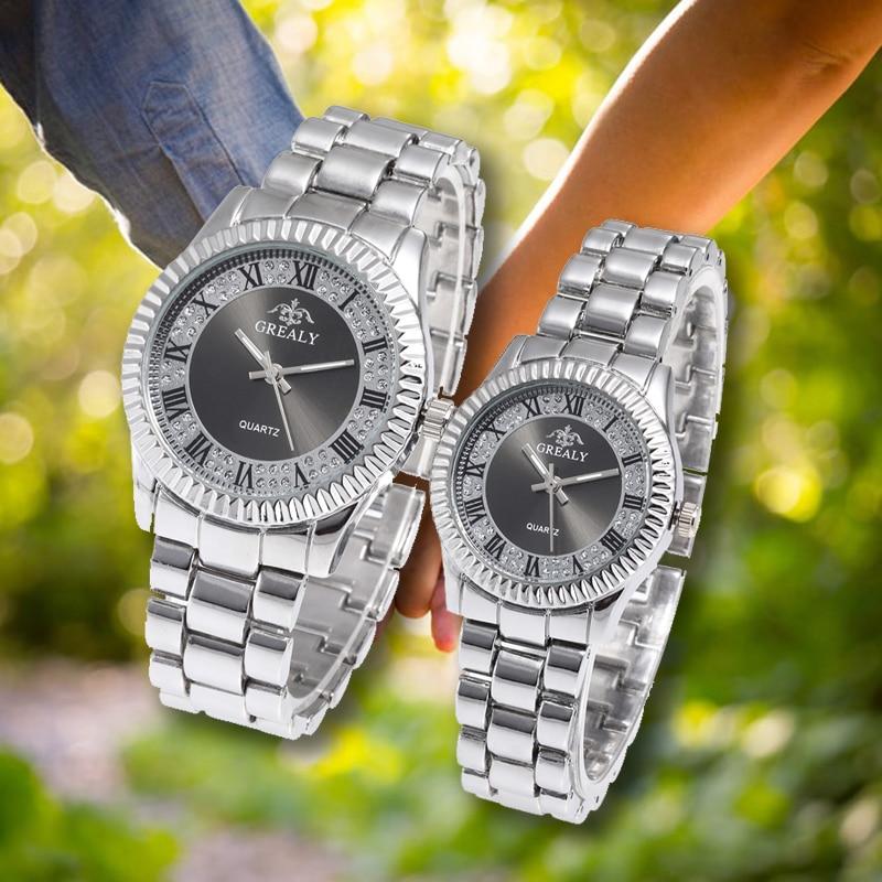 Stainless Steel Retro Dial Couple Watches Fashion Women Man Luxury Lovers Quartz Female Wristwatch Montres Femme Ladies Watch