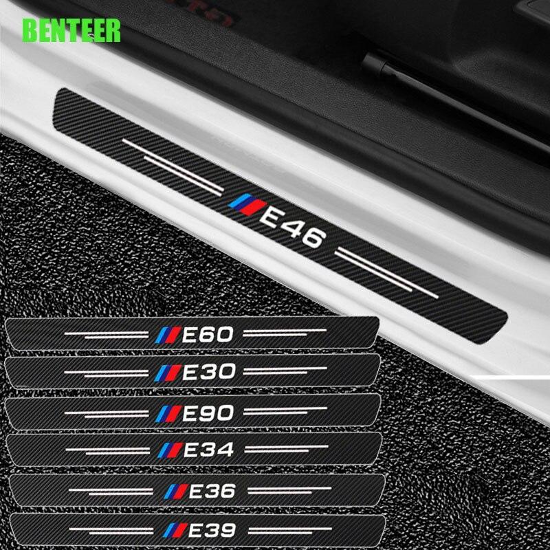Защитные стикеры для дверей автомобиля, углеродное волокно для BMW E30 E34 E36 E60 E90 E46 E39
