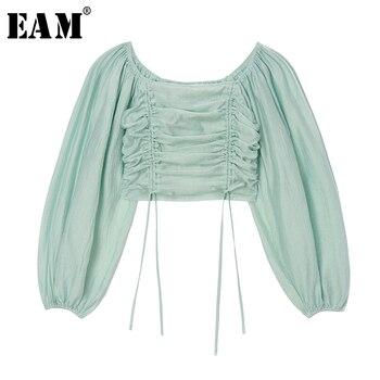 [EAM] Women Blue Drawstring Pleated Blouse New Slash Neck Long Sleeve Loose Fit Shirt Fashion Tide Spring Summer 2020 1U407