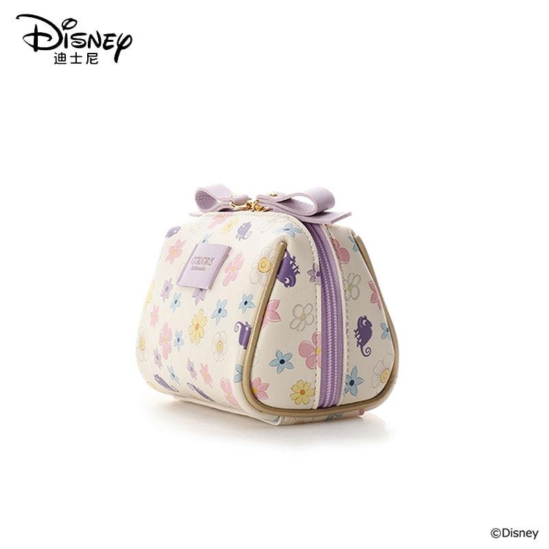 Disney Girl Cosmetic Bag Waterproof Ladies Travel Cosmetic Bag Rapunzel Zipper Pouch Women Make Up Bag Wash Bag Flowers Princess