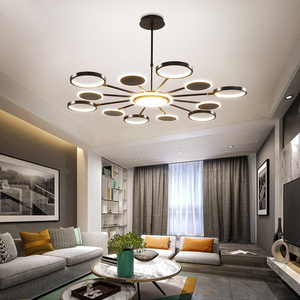 Image 3 - 50 ワット 66 ワット 98 ワットledシャンデリア照明現代の金または黒のリビングルームのベッドルームのホームデコぶら下げランプフィッティング調整 3 色