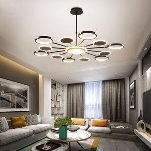 Image 3 - Iluminación LED de araña oro moderno, 50W, 66W, 98W, negro, para sala de estar, dormitorio, decoración del hogar, ajuste de lámpara, 3 colores