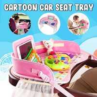 Bandeja para asiento de coche de dibujos animados para bebé, asiento multifunción portátil e impermeable, soporte para teléfono para bebidas y comida, bandeja para silla de seguridad para niños