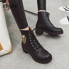 BYQDY Woman Ankle Boots Lace Up Platform Boots New Thick Heels Ladies Shoes Autumn Winter Skull Street Fur Round Toe Short Boot 2019 autumn new ankle boots for women platform high heels female lace up shoes woman buckle short boot casual ladies footwear