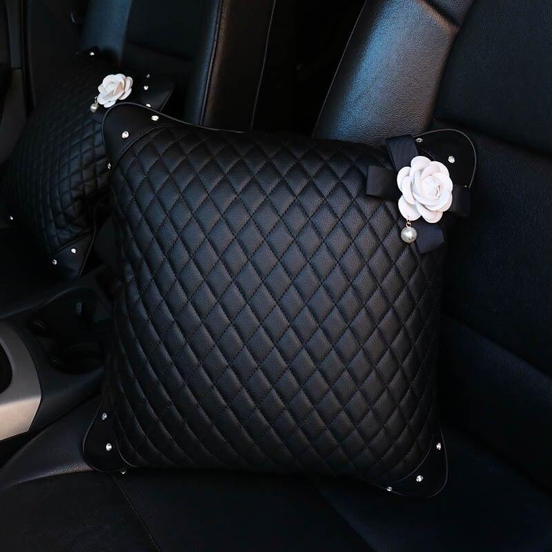 Cute-Rose-Flower-Car-Headrest-Neck-Pillow-Leather-Crystal-Fashion-Women-Car-Waist-Pillow-Seat-Supports (2)