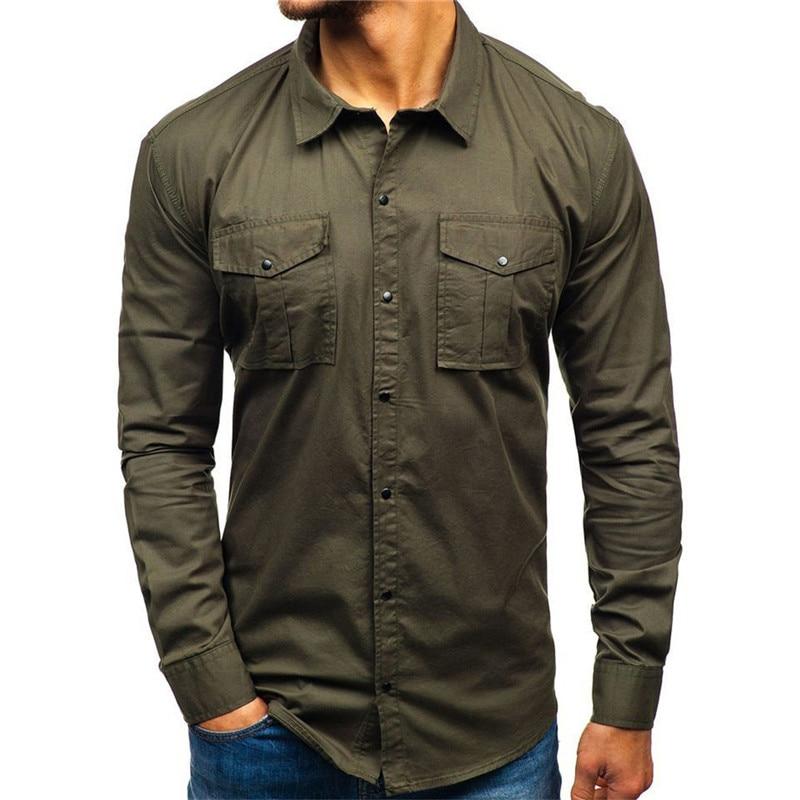 2020 New Men Military Shirt Autumn Casual Man Shirt Cotton Military Cargo Slim Button Solid Long Sleeve Shirt Men Pocket Shirts