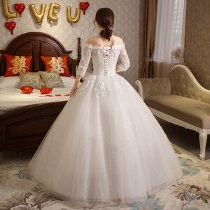 Image 4 - หรูหรายาวชุดแต่งงาน 2020 ครึ่งแขนเสื้อลูกไม้ปิดไหล่ Elegant งานแต่งงานชุดเจ้าสาว VINTAGE Vestido De Noiva