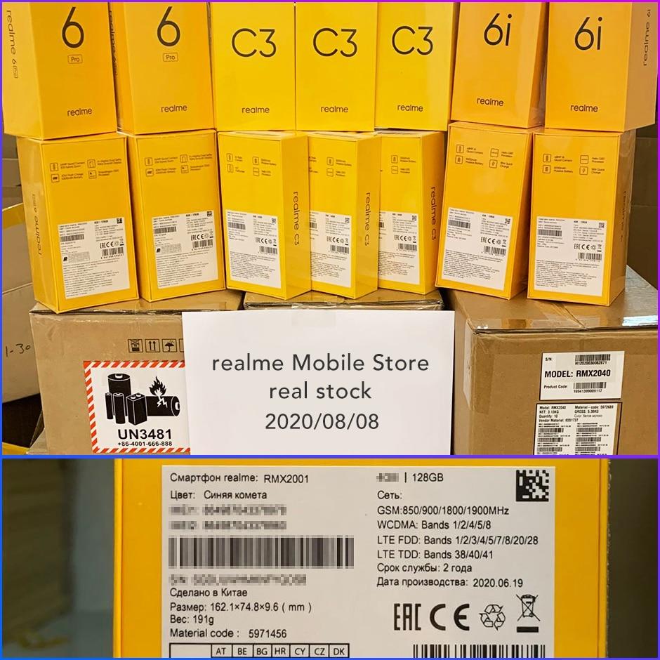 realme 6 Global Version Mobile Phone 4GB RAM 128GB ROM 30W Flash Charge 4300mAh Helio G90T 64MP Camera NFC Play Store EU Plug