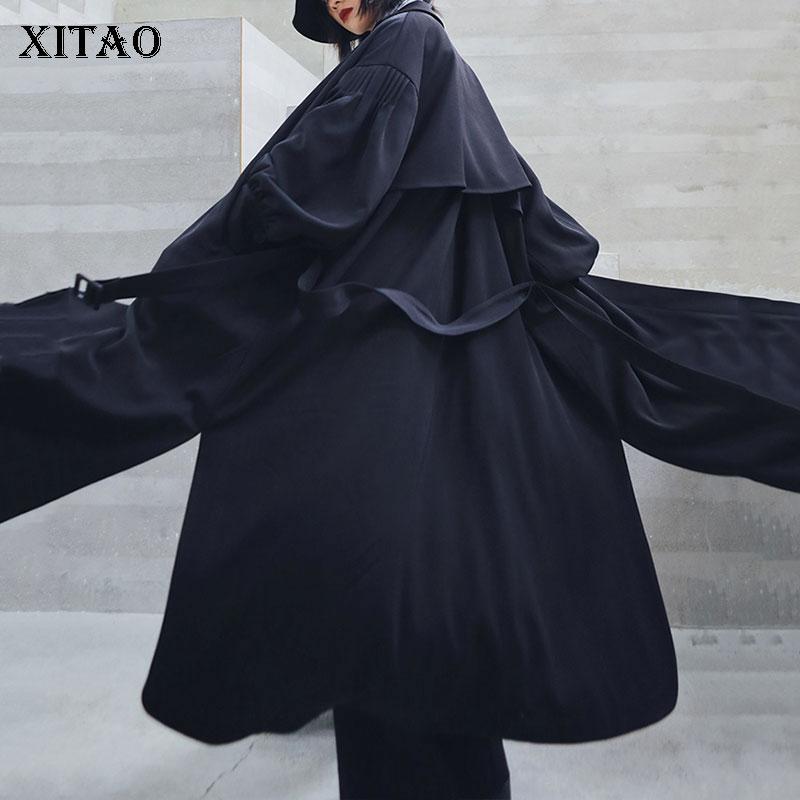 XITAO Vintage Slim Black   Trench   Women Fashion New 2019 Autumn Long Plus Size Irregular Pocket Wide Waist Casual Coat GCC2032