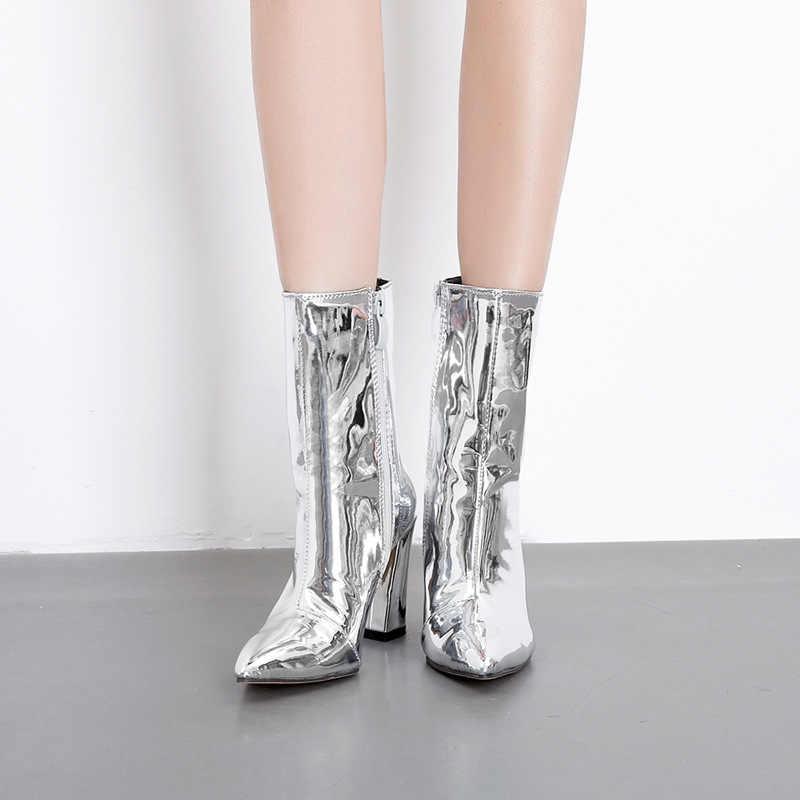 Moda altın gümüş Patent deri kadın yarım çizmeler sivri burun yüksek topuk çizmeler seksi Stiletto kadın pompaları Chelsea çizmeler 2019