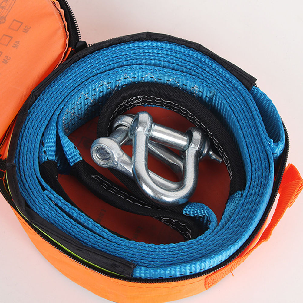 5M 8Tons Tow Strap High Strength Blue Car Polyester Heavy Duty Off Road Rope Thicken Emergency Winch Sling With Hooks Recovery