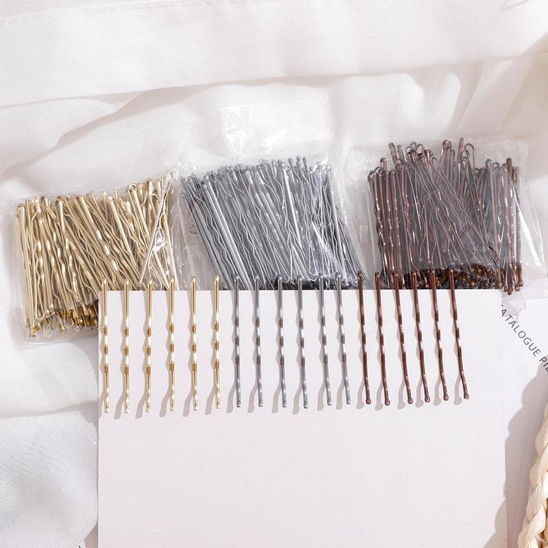 100 шт./компл. 5 см, черная лампа для женщин, женские заколки-невидимки, невидимые волнистые заколки-пряжки, заколки для волос, аксессуары