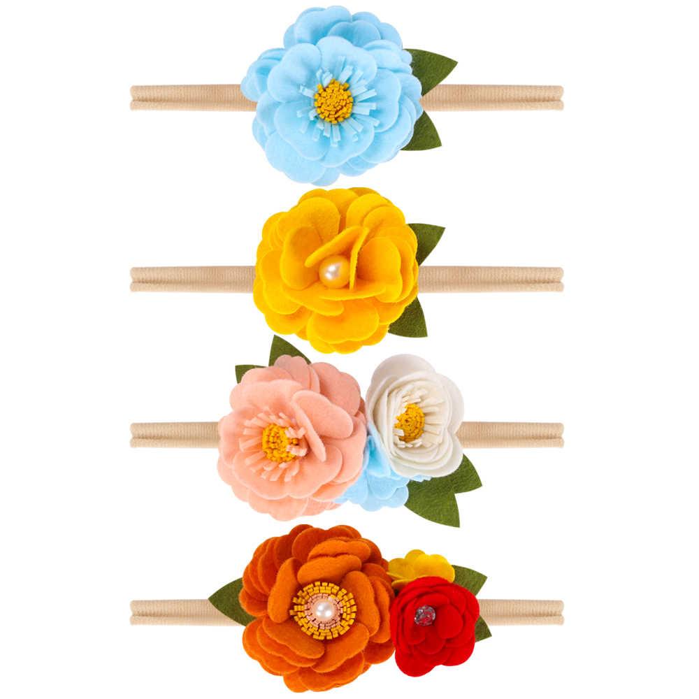 Xugar แฟชั่นดอกไม้เพิร์ล Headbands ยืดหยุ่นแหวนผ้าขนหนู Hairbands สำหรับเด็กผ้า Bezels ผู้หญิงอุปกรณ์เสริมผม