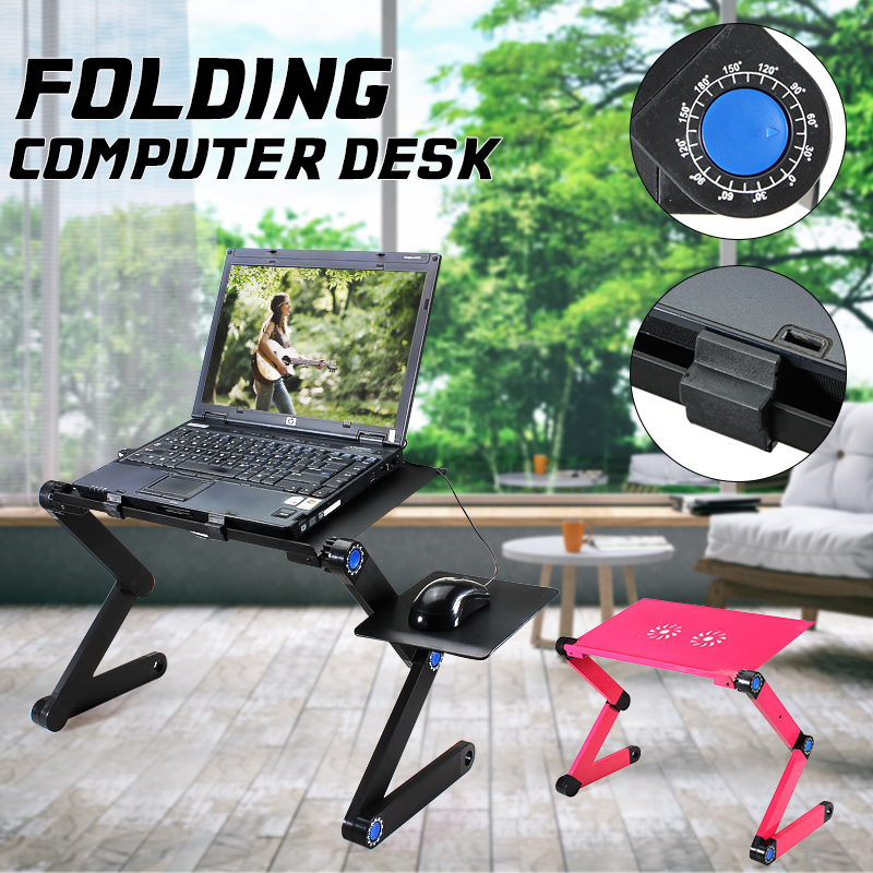 360 Degree Adjustable Foldable Laptop Desk Table Stand Holder Durable Aluminum Laptop desk Tray with Cooling Dual Fan Mouse Pad