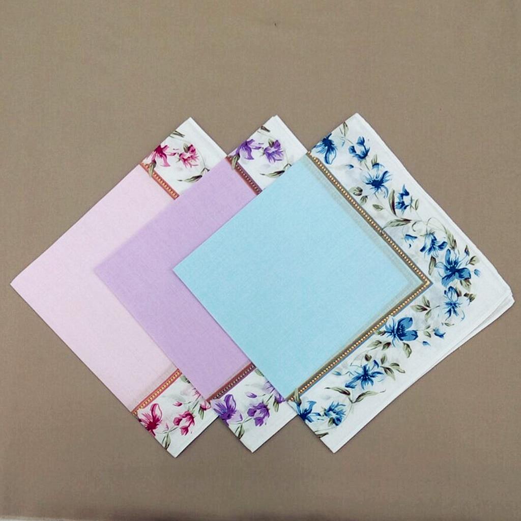 12pack 100% Cotton Flowers Print Beautiful Handkerchiefs Ladies Girls Washable Pocket Square Wedding Hankie Lot 43x43cm