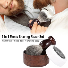 HAWARD Razor Badger Hair Shaving Brush Beard Brush Goat Milk Shaving Soap Eco-friendly Oak Bowl Men's Personal Care Shaving Set